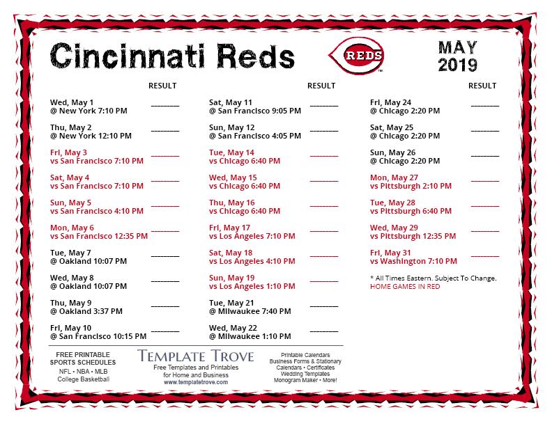 Reds Schedule 2022 Calendar.Printable 2019 Cincinnati Reds Schedule