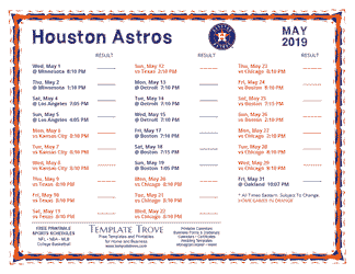 May 2019 Houston Astros Printable Schedule