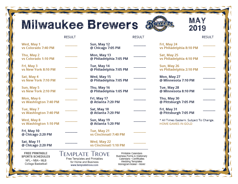 Brewers Schedule May 2019 Printable 2019 Milwaukee Brewers Schedule