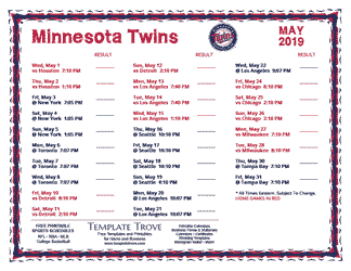 May 2019 Minnesota Twins Printable Schedule