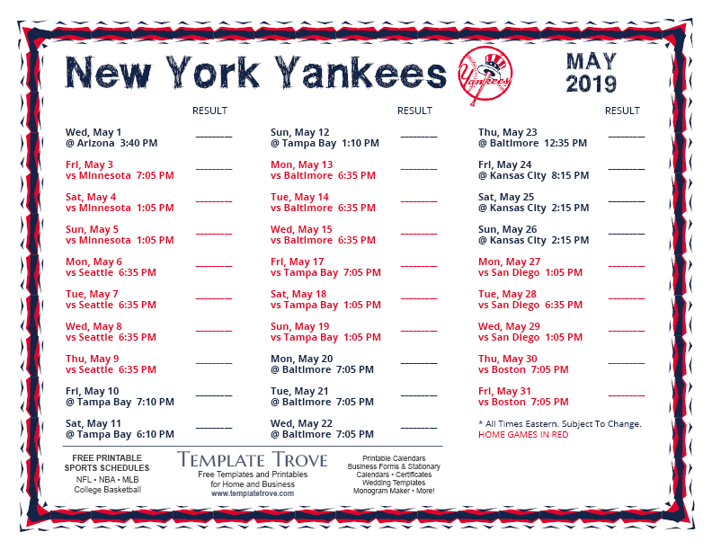 picture relating to Yankees Schedule Printable named Printable 2019 Fresh York Yankees Timetable