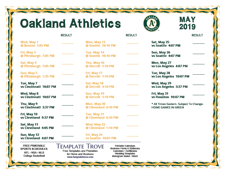 photo relating to Seattle Mariners Printable Schedule named Printable 2019 Oakland Sports activities Agenda