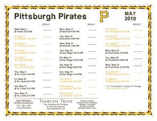 May 2019 Pittsburgh Pirates Printable Schedule
