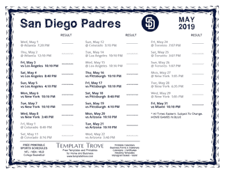 May 2019 San Diego Padres Printable Schedule
