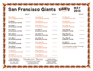 May 2019 San Francisco Giants Printable Schedule
