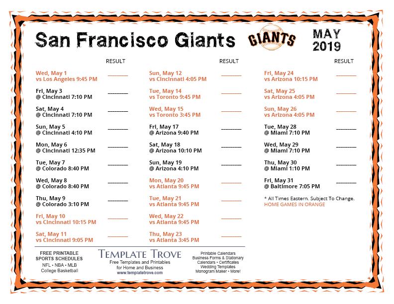 Printable 2019 San Francisco Giants Schedule