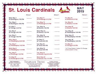 May 2019 St. Louis Cardinals Printable Schedule