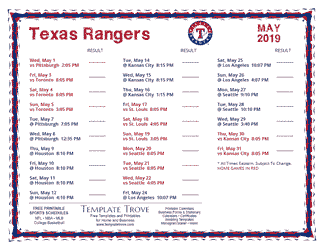 May 2019 Texas Rangers Printable Schedule