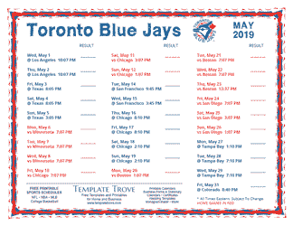 May 2019 Toronto Blue Jays Printable Schedule