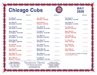 May 2020 Chicago Cubs Printable Schedule