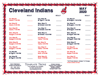 May 2020 Cleveland Indians Printable Schedule