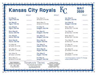 May 2020 Kansas City Royals Printable Schedule