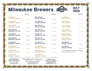 May 2020 Milwaukee Brewers Printable Schedule