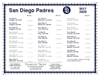 May 2020 San Diego Padres Printable Schedule