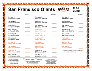 May 2020 San Francisco Giants Printable Schedule