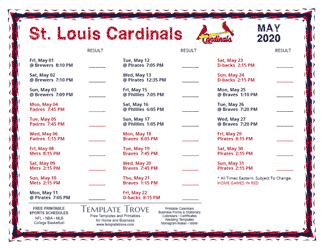 May 2020 St. Louis Cardinals Printable Schedule
