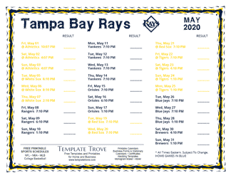 May 2020 Tampa Bay Rays Printable Schedule