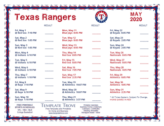 May 2020 Texas Rangers Printable Schedule