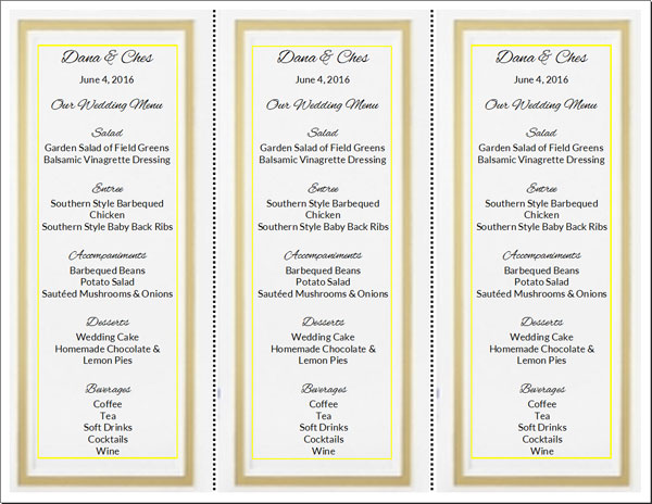 Do It Yourself Wedding Menu Cards