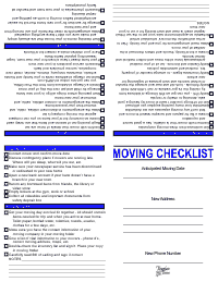 Moving Checklist - Blue