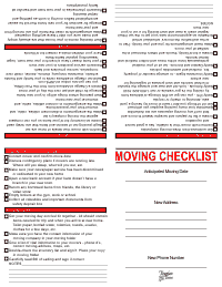 Moving Checklist - Red