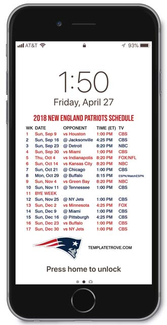 New England Patriots 2019 Calendar 2018 2019 New England Patriots Lock Screen Schedule for iPhone 6 7