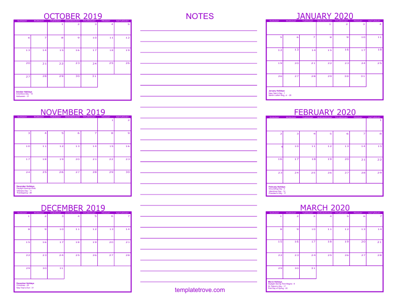 2020 6 Month Calendar From January To June 6 Month Calendar   2019