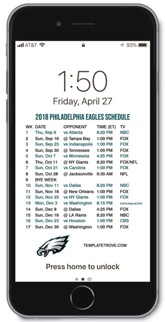 Crush image regarding printable eagles schedule