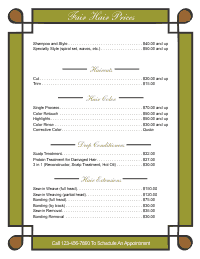 Price List Template 1 - Gold and Brown