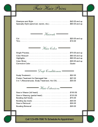 Price List Template 1 - Green and Gold