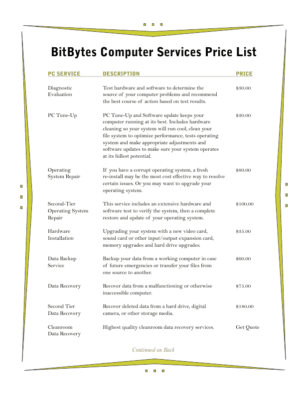 Price List Template 3 – Template for Price List
