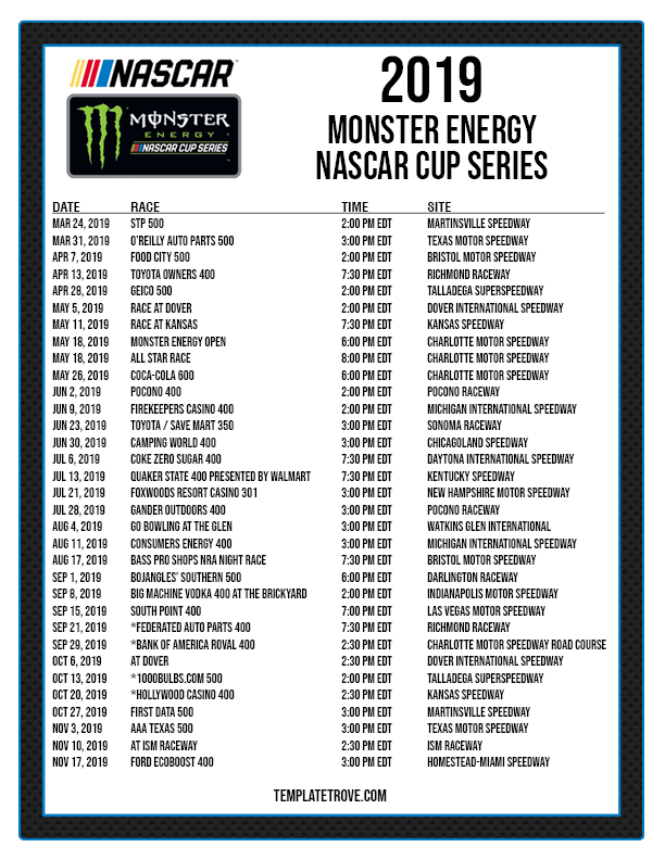 photograph about Printable Nascar Schedule identified as Printable 2019 NASCAR Routine