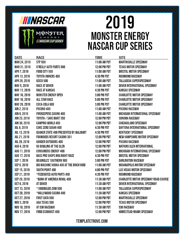It's just a graphic of Witty Printable Nascar Schedules