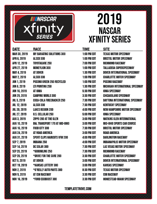 graphic regarding Printable Nascar Schedule referred to as Printable 2019 NASCAR Timetable
