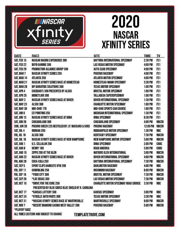 It's just an image of Fabulous Printable Nascar Schedule