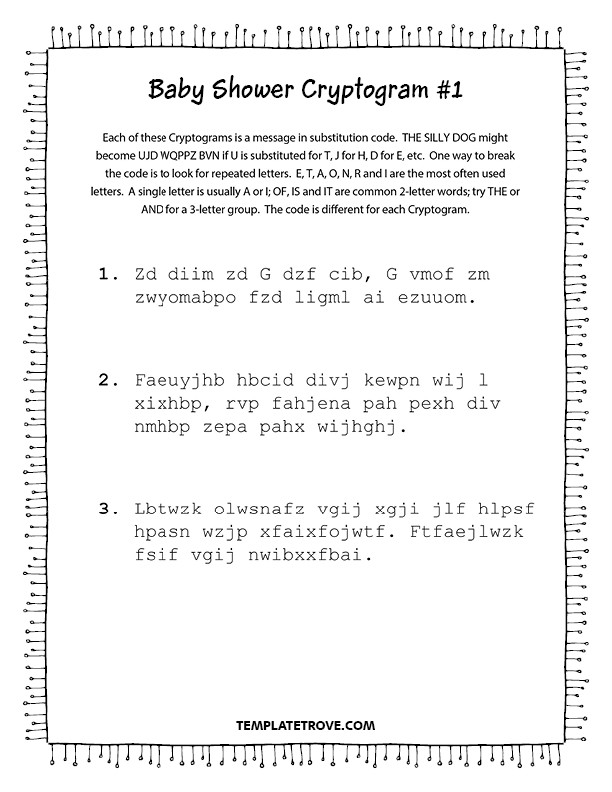 photo about Printable Cryptogram Puzzles referred to as Printable Child Shower Cryptogram Puzzles