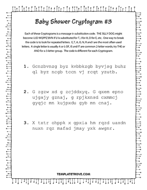 Printable Baby Shower Cryptogram Puzzle #3