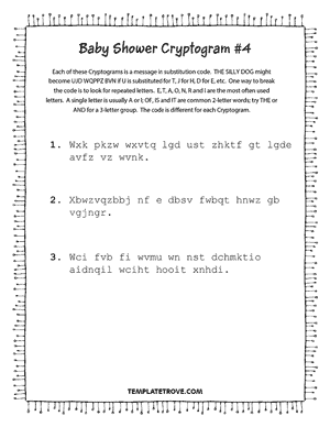 Printable Baby Shower Cryptogram Puzzle #4