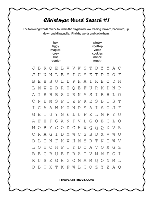 photograph relating to Christmas Word Search Puzzles Printable referred to as Printable Xmas Term Seem Puzzles