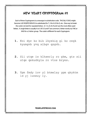 Printable New Year's Cryptogram Puzzle #1