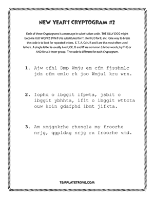 Printable New Year's Cryptogram Puzzle #2