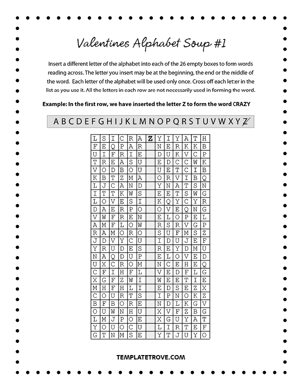 picture about Valentine Puzzles Printable named Printable Valentines Alphabet Soup Puzzles