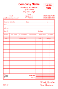 Receipt Template 1 - Red