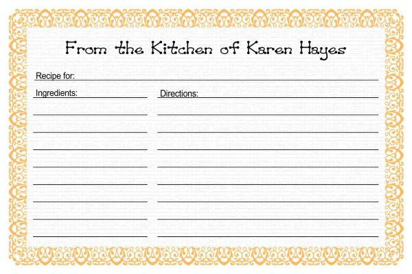 Recipe card templates for Template for recipes in word