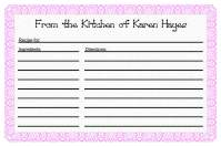 Recipe Card Template 1 - Pink