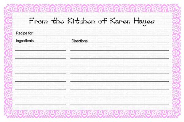 Recipe Card Templates – Recipe Page Template Word