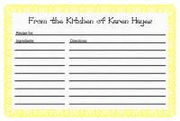 Recipe Card Template 1 - Yellow