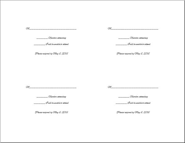 Do It Yourself Wedding Reply Cards