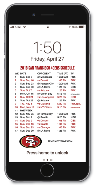 photograph about 49ers Schedule Printable identify 2018-2019 San Francisco 49ers Lock Exhibit Plan for