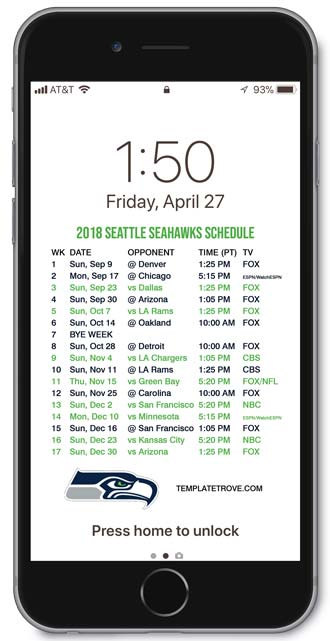 2018 Seattle Seahawks Lock Screen Schedule